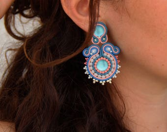 Blue, Denim and pink soutaches earrings