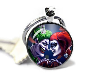 Harley Quinn and Joker Key Ring Keyfob Harley Joker Keychain Fandom Jewelry Cosplay Fangirl Fanboy