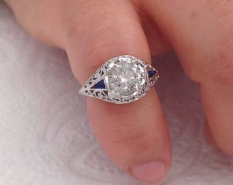 Certified 1.37 CT Round cut Diamond engagement Ring 14k white gold  hand made
