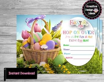 Easter Invitation Easter Egg Hunt Easter Invite Easter Digital File Easter Printable Easter 4x6 Invitation Easter Instant Download