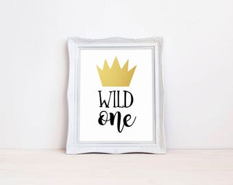 "Wild One 8""x10"" First Birthday Party Printable Sign 