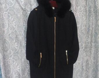 UNUSED XL Michael Kors Wool Coat With Fox Fur Trim Size 18