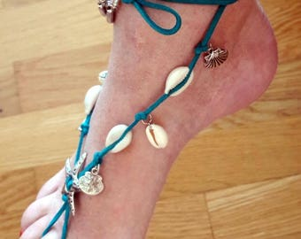 Barefoot Boho shells wrap ankle jewelry, Ibiza style Turquoise shells and charms barefoot wrap, Gypsy beach jewelry