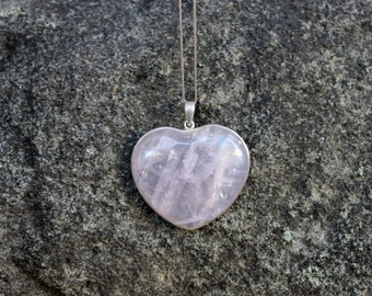 FREE SHIPPING Rose quartz sterling silver heart pendant