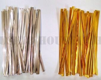 "Metallic Twist Tie 8cm 3.15 Inches 3.15"" 10cm 4 Inches 4"" | Gold / Silver Color"