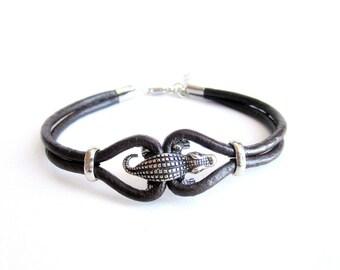 Crocodile bracelet mens, leather cords bracelet, mens leather bracelet, crocodile leather bracelet, double cords leather bracelet