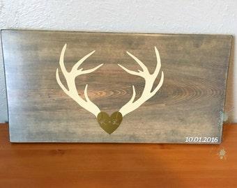 Rustic wooden wedding guestbook