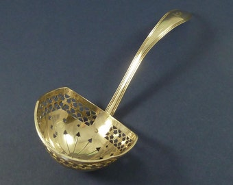 Dutch Silver Sifter Spoon Sugar Dredging Ladle Armorial Hallmarked Antique
