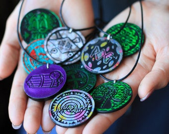 Pog Necklaces // 90's // grunge // slammers // collectables // 90s toys