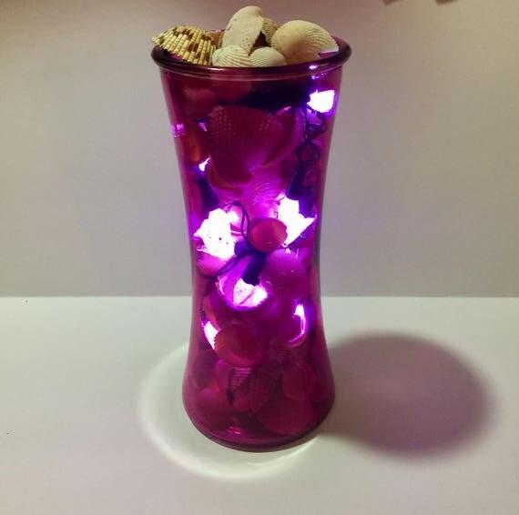 Dark Pink Seashell Vase With 50 Seashell Inside Coastal