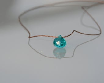 ZOUX073 minimalist Brown silk yarn - (onion shape) peacock blue green quartz faceted briolette pendant necklace