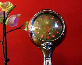 Chrome tulip-base clock, 1960s, West Germany / Saarinen-inspired space age alarm clock