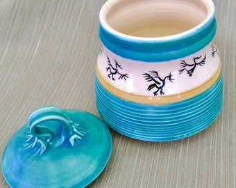 Earthenware Jar Handpainted w/ Dancing Birds