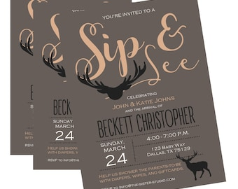 Sip and See Invitation, Sip and See, Sip and See Invitation Boy, Rustic Sip and See, Rustic Sip and See Boy, Deer Sip and See Shower Deer