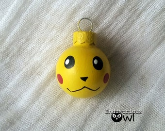 "Pikachu Inspired Hand Painted Glass Ornament (1"" diameter)"