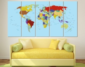 Brown watercolor world map print on canvas world map wall art large push pin map canvas world map push pin personalized executive world travel map gumiabroncs Image collections