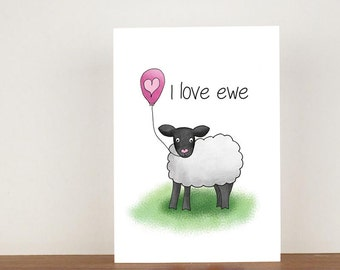 I love ewe anniversary card, cards, greeting cards, love, valentines card, sheep card, happy valentines day, love card