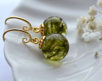 Epoxy resin Moss resin earrings hook Earrings with real forest Moss Forest gifts Green moss earrings Forest jewellery
