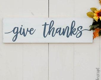 Thankful Sign Decor l Farmhouse Thanksgiving Sign l Give Thanks l White Distressed Decor l Autumn Mantle Decor l