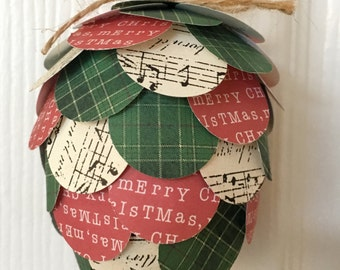 Christmas Paper Pinecone Ornament