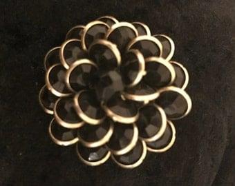 Vintage Black Rhinestone Flower Brooch