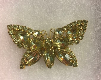 Vintage Buttefly Brooch, Yellow Rhinestones, Gold Tone