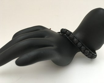 Lava Bead Leather Bracelet