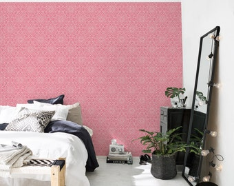 Abstract floral pattern, geometric wallpaper, pink, self adhesive, reusable, removable wall mural #99