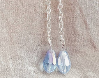 Blue glass earrings, blue drop earrings, drop earrings, blue glass dangly earrings, blue earrings