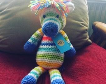 Crochet Rainbow Zebra // Nursery Decor // Baby Gift // Rainbow // Stuffed // Plush // Toy // Handmade