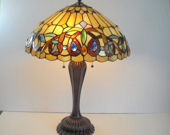 Large Stained Glass and Jewel Table Lamp