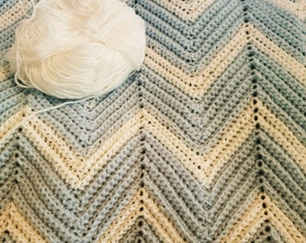 Chevron Baby Blanket/Blue Blanket/Baby Boy Blanket/Crochet Chevron Blanket/Crib Blanket/Stroller Blanket/Receiving Blanket/Baby Bedding