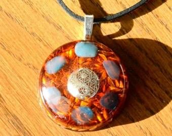 Orgone Pendant Necklace Yin Yang Orange Gemstone Crystal Healing Energy Jewelry EMF Protection