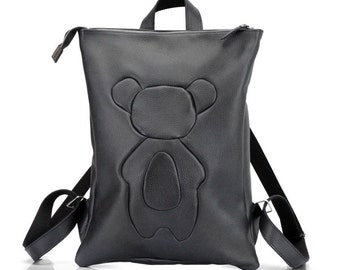 Black Leather Backpack with Applique Bear Cub | Laptop Rucksack | School Backpack | Laptop Backpack | Cute Leather backpack