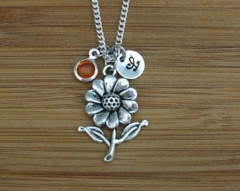 Daisy Necklace, Flower Necklace, Spring Jewelry, Personalized, Birthstone Necklace, Hand stamped Initial Jewelry, Sterling Silver, Monogram