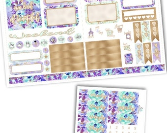 Beautiful Lavender Pocket TN Kit Planner Stickers/Pocket Travelers Notebook Kit Planner Stickers