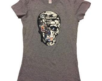 The Universe Is Inside You- Women's graphic tee, women's t-shirt, inspirational, skull, spiritual, Universe, Rumi, T-shirt, tee