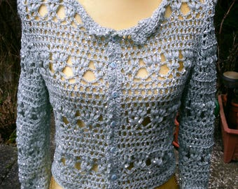 Crochet jacket with sequined wool, bright-blue, size 36-38 (S-m)