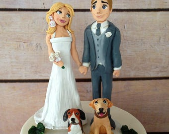 Clay Dog lovers' wedding couple personalized figurines