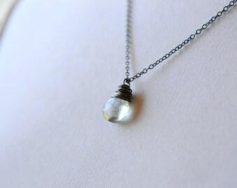 Green Gemstone Necklace, Simple Oxidized Silver Wire Wrap Jewelry, Sage Green Pale Teal Quartz Stone Dangle