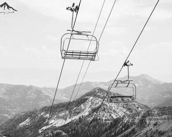 Ski Lift, Landscape Photography, Black and White Print, Winter Landscape, Ski, Utah Landscape, Utah Ski Resort, Home Decor, Ski Lift Print