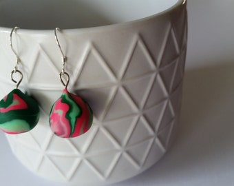 Drop earrings, polymer clay in forest green, pale green and pink on sterling silver hooks, hypoallergenic