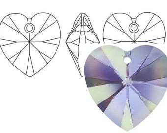 Swarovski 6228 Crystal Heart Pendant 18mm Vitrail Light 1PC 3PC