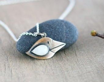 Little crow pendant - Animal jewelry - Silver pendant- White crow