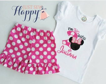 I'm TWO-dles Personalized Minnie Mouse birthday outfit/ Shirt with Ruffle Pants OR Ruffle Shorts/ Pink and white birthday, Girls TWO-dles/