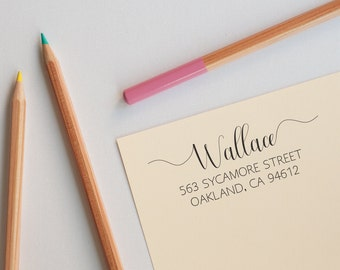 Custom Calligraphy Address Stamp, Return Address Stamp Self Inking, Calligraphy Envelope Stamp, Personalized Address Stamp,Housewarming Gift