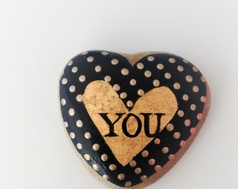 You Are Enough - hand-painted rock, for giving and for getting, gold leaf, heart, metallic gold, dots. quote