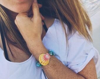 Hawaiian sunrise shell and turquoise bracelet - handmade in Hawaii