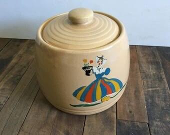 Vintage Pot with Lid.Dutch Girl.Kitchen Decor