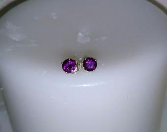 Grape Garnet Rhodolite Earstuds, Natural Rhodolite Grape Garnet 4mm Earrings